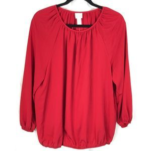 Chico's Everyday Peasant red long sleeve top 7905
